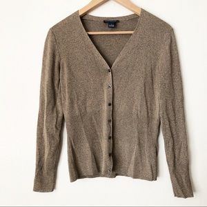 Ann Taylor Tan Ribbed Knit V Neck Button Cardigan